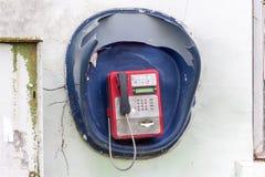 Teléfono público rojo Fotos de archivo