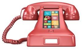 Teléfono retro de los posts. Imagen de archivo libre de regalías