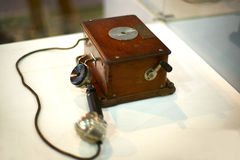 Teléfono retro del montaje en la pared Fotos de archivo libres de regalías