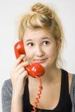 Teléfono rojo Imagen de archivo libre de regalías