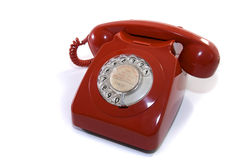 Teléfono rojo viejo fotos de archivo