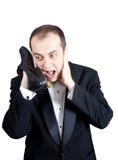 Teléfono secreto del zapato Imagen de archivo libre de regalías