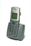 Teléfono sin cuerda con la horquilla en blanco Imagenes de archivo