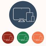 Teléfono, tableta, iconos del ordenador portátil fijados libre illustration