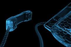 teléfono transparente azul 3D Fotos de archivo libres de regalías