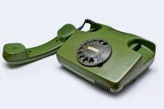 Teléfono verde viejo Imágenes de archivo libres de regalías