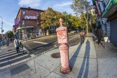 Teléfono viejo del victorian SOS en Brooklyn, Nueva York Fotos de archivo