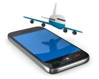 Teléfono y aeroplano en el fondo blanco Imagen de archivo libre de regalías