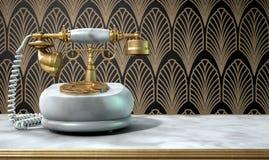 Teléfono y Art Deco Scene de mármol Imagenes de archivo