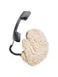 Teléfono y cerebro Imagen de archivo libre de regalías