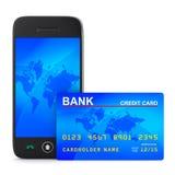 Teléfono y de la tarjeta de crédito en el fondo blanco stock de ilustración