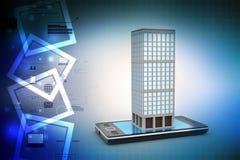 Teléfono y edificio elegantes con las propiedades inmobiliarias ilustración del vector