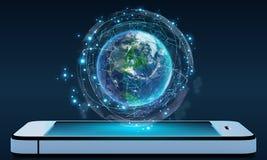 Teléfono y globo rodeados por una red de datos virtuales imagen de archivo