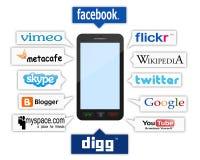 Teléfono y insignias sociales libre illustration