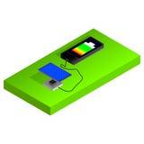 Teléfono y los paneles solares Imágenes de archivo libres de regalías