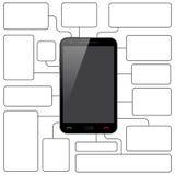 Teléfono y mensajes elegantes stock de ilustración