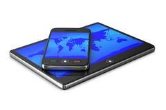 Teléfono y tableta en el fondo blanco Fotografía de archivo libre de regalías