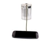 Teléfono y Tin Can Telephone elegantes II Imagen de archivo libre de regalías