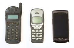 Teléfonos celulares a partir de tres generaciones Imágenes de archivo libres de regalías