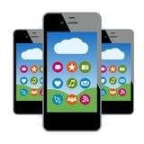 Teléfonos con el social y los iconos de Internet ilustración del vector