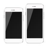 Teléfonos elegantes móviles con la pantalla negra aislada en el fondo blanco Imagen de archivo