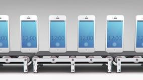 Teléfonos en transportador ilustración del vector