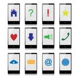Teléfonos móviles con las muestras en la pantalla Imagen de archivo