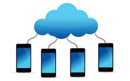 Teléfonos móviles conectados con la nube Imágenes de archivo libres de regalías