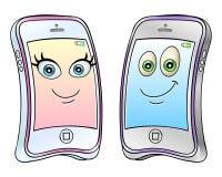Teléfonos móviles de la historieta Imagenes de archivo