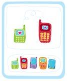 Teléfonos móviles del color en blanco Imagen de archivo libre de regalías