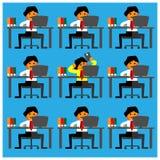 Teléfonos móviles del juego del oficinista entre sus amigos ocupados Diseño plano stock de ilustración