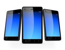 teléfonos móviles del negro de la tecnología 3D Fotos de archivo