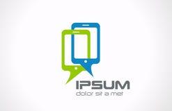 Logotipo de los teléfonos móviles que habla. Conexión de Smartphone   Foto de archivo libre de regalías