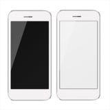 Teléfonos móviles realistas con la pantalla en blanco y negra Imagen de archivo libre de regalías