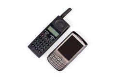Teléfonos móviles viejos y nuevos Imágenes de archivo libres de regalías