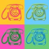 Teléfonos retros del estilo del arte pop libre illustration