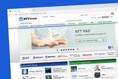 Telégrafo de Japón y teléfono u homepage de la página web del telégrafo y del teléfono del NTT Nipón foto de archivo libre de regalías