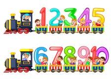 Tel aan tien met jonge geitjes op de trein stock illustratie