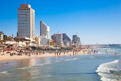 Общественный пляж в Tel Aviv Стоковое Изображение