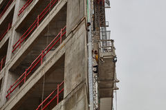 Tel Aviv - 10.06.2017: Arab workers building a structure in Tel Stock Photo