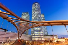 Tel Aviv Azrieli Center skyline Israel blue hour night city skyscrapers modern architecture. Evening royalty free stock photography