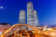 Tel Aviv Azrieli Center skyline Israel blue hour night copyspace copy space city skyscrapers modern architecture. Evening royalty free stock photos