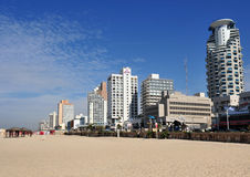Tel-Aviv beach. Panoramic view of Tel-Aviv beach on the coastline of the Mediterranean sea. Israel Royalty Free Stock Photography