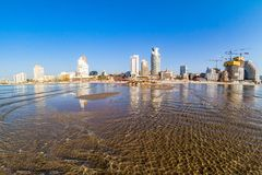 Tel Aviv beach coast. Tel Aviv beach coast with a view of Mediterranean sea and skyscrapers, Israel Royalty Free Stock Photos
