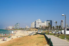 Tel Aviv beach coast with a view of Mediterranean sea from Jaffa Stock Photography
