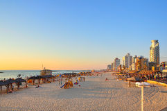 Tel Aviv Beach, Israel. A view of the beach as the sun sets on Tel Aviv, Israel stock image