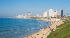 Tel Aviv beach. With Mediterranean Sea on Shabbat Royalty Free Stock Photography
