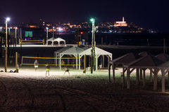 Tel Aviv beach at night Stock Photos