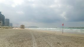 Tel Aviv beach without people Royalty Free Stock Image
