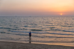 Tel Aviv beach sunset Stock Images